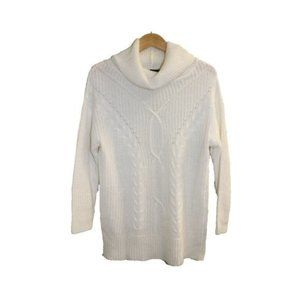 Guilty Cable Knit White Turtleneck Sweater